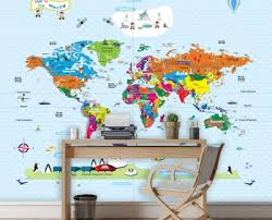 World Map Wallpaper For Walls Home Office Mycutestickons