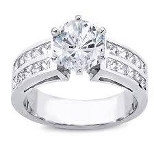 two row princess cut channel engagement setting