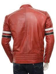 men s red leather biker jacket croyde back