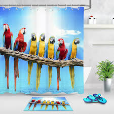 72 79 waterproof fabric shower curtain hook colorful parrot branch bathroom mat