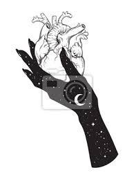 Fototapeta Lidské Srdce V Ruce Vesmíru Samolepka Tisk Nebo černé Tetování