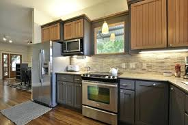 painted kitchen cabinets with black appliances. Great Delightful Alluring Painted Kitchen Cabinets Two Different Colors Kitchens With Color Large Size Of Accent Black Appliances