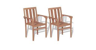 <b>Stackable Garden Chairs 2</b> pcs Solid Teak Wood - Matt Blatt