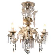 venetian crystal chandelier with large crystals 1920s six light rare scroll arms for