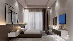 apartments interior design. Master Bedroom In A Minimalist Style With Wooden Decor Of Dark Colors Marble Tiles And Apartments Interior Design