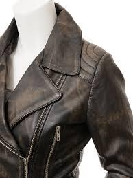 women s vintage leather biker jacket simi side