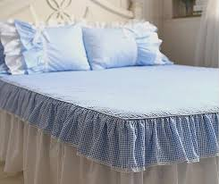 plaid king size bedding elegant ruffle lace blue plaid bed sets twin full queen king cotton