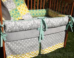 custom grey with teal and yellow accent by mellissasboutique gender neutral crib bedding sets 1tdyx6lc