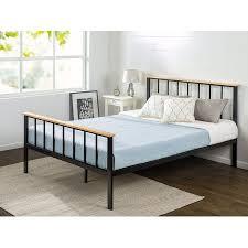 zinus metal and wood platform bed. Fine Bed Zinus Queen Contemporary Metal U0026 Wood Platform Bed And E