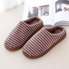 House Shoe Size Chart Mens Cotton Slippers Male House Shoes Thick Strip Keep Warm