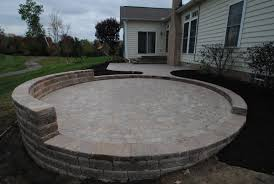 paver patio with deck. Exellent Deck Tumbled Paver Patio With Sittiong Wall U0026 Platform Steps For With Deck