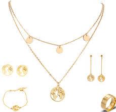 <b>Fashion</b> Gold <b>Stainless</b> Steel Jewelry Set Women Pendant Necklace ...