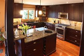 Gray Cabinet Kitchen With Wooden Top Kitchen With Dark Cabinets