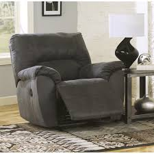 signature design by ashley furniture tambo fabric rocker recliner in pewter