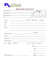 An Example Template For Cake Order Form Pdf Sample Bakery