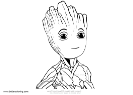 Baby Groot Coloring Pages Easy Drawing Free Printable Coloring Pages