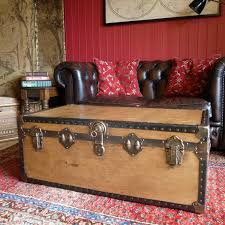TRUNK COFFEE TABLE Vintage Steamer Trunk Storage Trunk Industrial Chest  Late 1930's Mid Century Travel Trunk Rustic Blanket Box