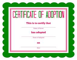 Pet Adoption Certificate Template Free Printable Stuffed Animal Adoption Certificate