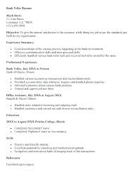 Resume For A Bank Teller Objective For Teller Resume Bank Teller Resume Examples Perfect