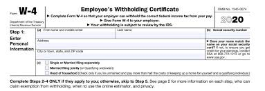 Withholding Allowance Chart Irs Overhauls Form W 4 For 2020 Employee Withholding