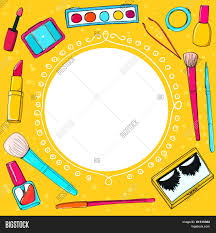 cosmetics background with make up tools brushes maa lipstick and pencils vector yellow frame for makeup lessons s s and other design