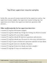 Bar Resume Sample Best Of Top 24 Bar Supervisor Resume Samples