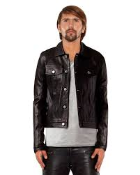 black denim style leather jacket front2 1