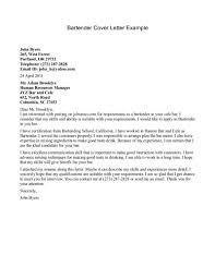 Cover Letter For Waitress Bartender Cover Letter