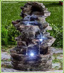 Lighted Water Fountain Outdoor Decor Outdoor Fountains 20507 Stacked Stone Look Led Lighted
