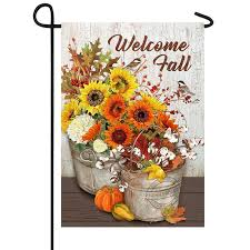 sunflowers cotton welcome fall flag