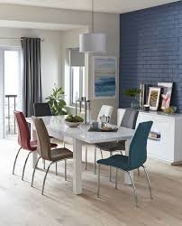 the adela collection features a stunning white high gloss finish double extending dining table and colourful leather look chairs with polished chrome legs