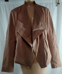 g i l i open front tonal printed leather jacket with pockets blush size 12
