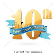 Anniversary Ribbon 10th Anniversary Ribbon Sign Illustration Design Over A White