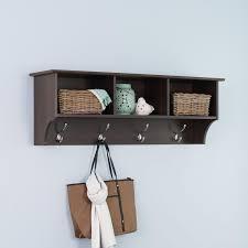 decorating good looking wall mounted coat rack with shelf 3 espresso prepac racks eec 4816 64