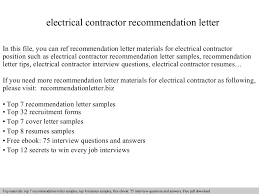 Electrical Contractor Resumes Electrical Contractor Recommendation Letter