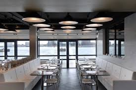 ... Modern Restaurant Interior Design : Modern Restaurant Design With  Stainless Single Pedesta Tables Combine With Long ...