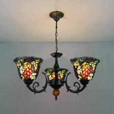 fruitage and leaves tiffany style three light multicolor stained glass lampshade chandelier