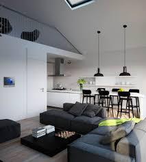 Monochrome Living Room Wood Grey Tiling Stock Photo 396884347 Interior Design Kitchen Living Room