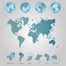 World Map With Globes Detailed Editable Vector Illustration