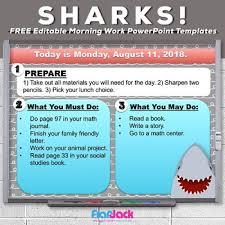 Story Book Powerpoint Template Editable Shark Themed Morning Work Powerpoint Templates Freebie