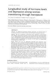 PDF) Longitudinal study of hormone levels and depression among women  transitioning through menopause