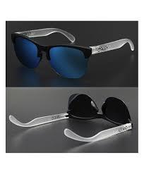 Oakley Mens Frogskins Lite Sunglasses Matte Black Prizm Sapphire