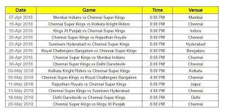 Csks Full Ipl Schedule Dates And Match Timings The