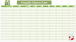 Chore List For Families Family Chore List Template Buraq Printables