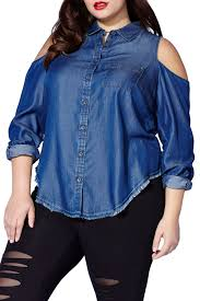 Tess Holliday Size Chart Mblm By Tess Holliday Chambray Cold Shoulder Shirt Plus Size Nordstrom Rack