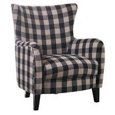 black and white plaid fabric club chair