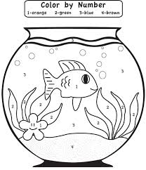 Small Picture play game fishbowl color by number coloring Page for kids