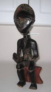 vintage ghana african hand carved wooden fertility statue mother child 14 1 2