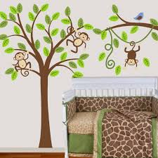 image of monkey wall decals for girl nursery