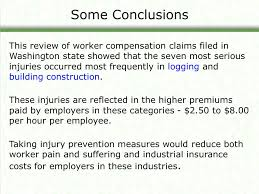 some conclusions this review of worker compensation claims filed in washington state showed that the seven